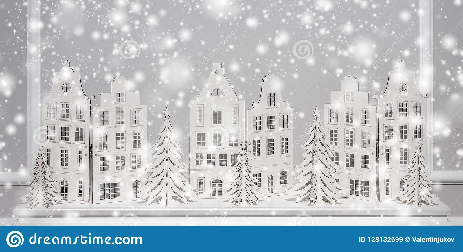 Christmas background of paper decorations. Xmas and Happy New Year composition