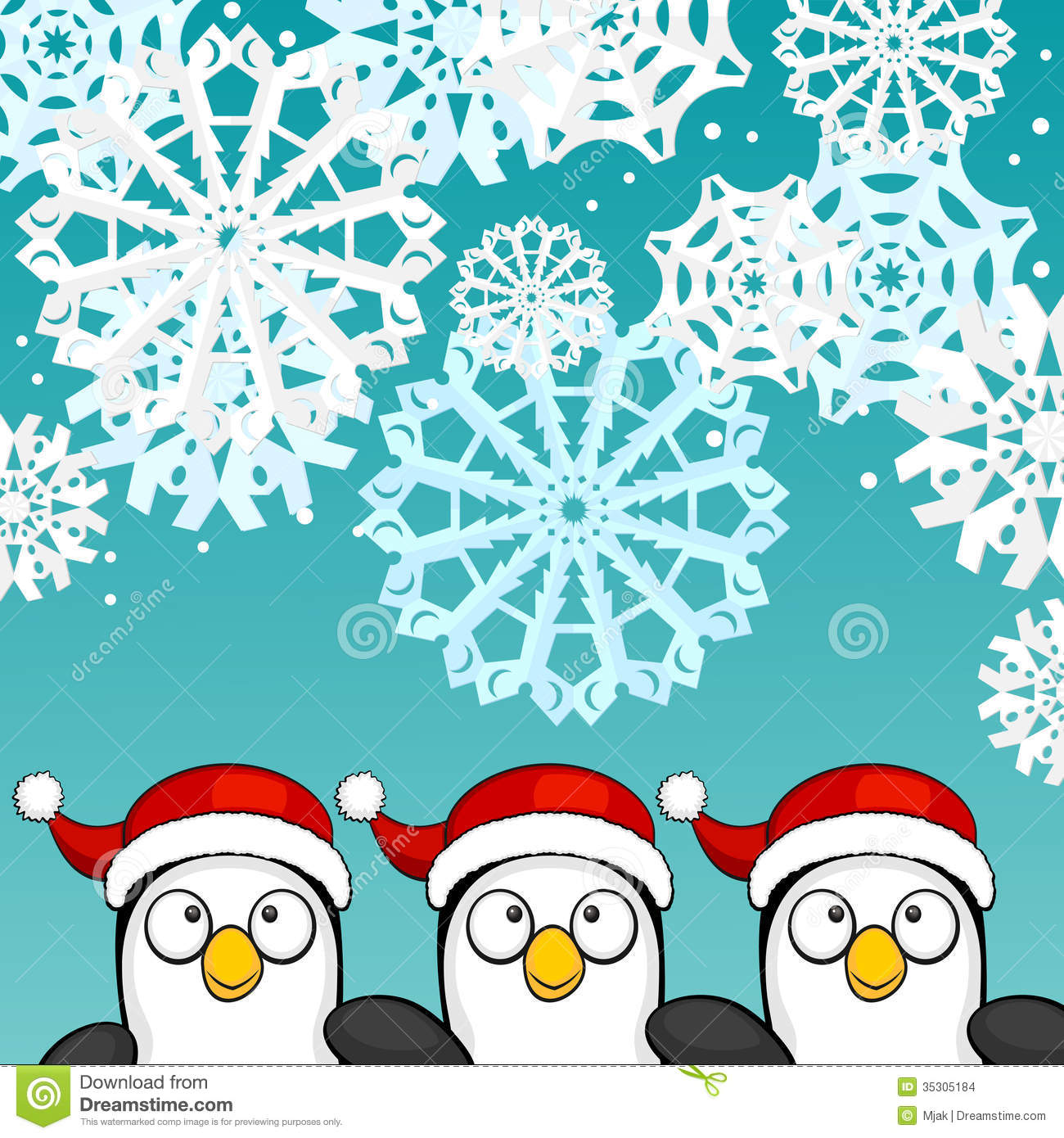 Christmas Background With Penguins Stock Vector Image