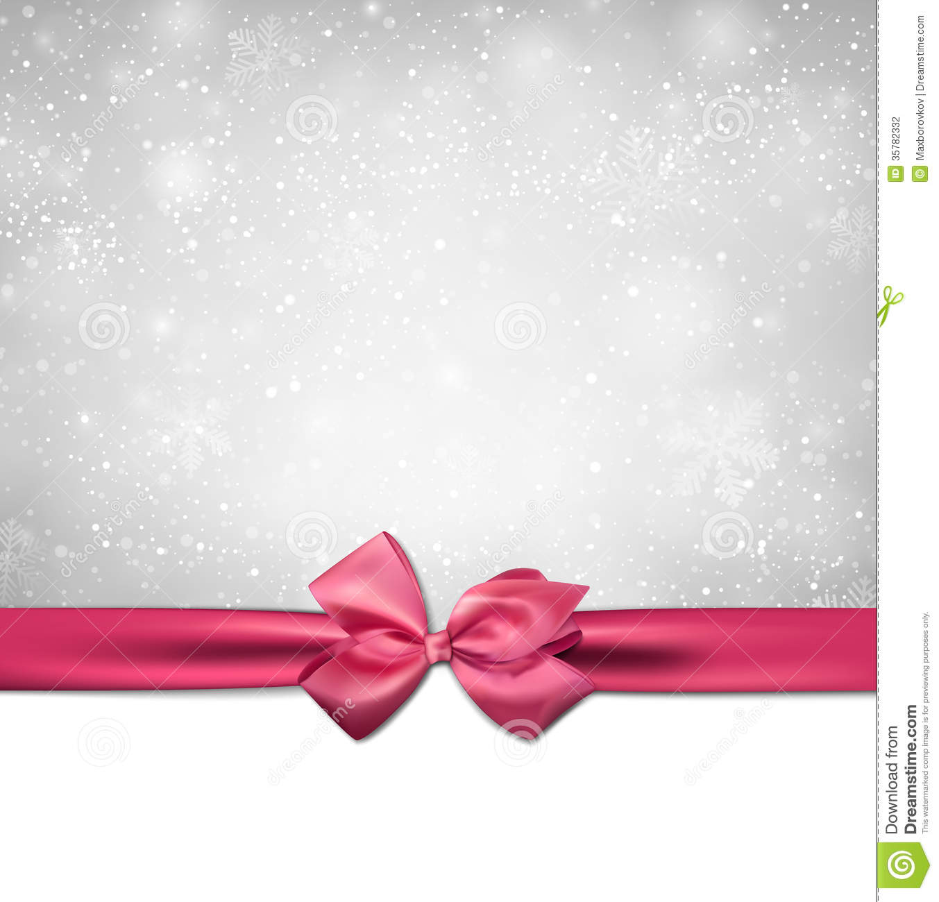 Christmas Background With Pink Bow Stock Photography