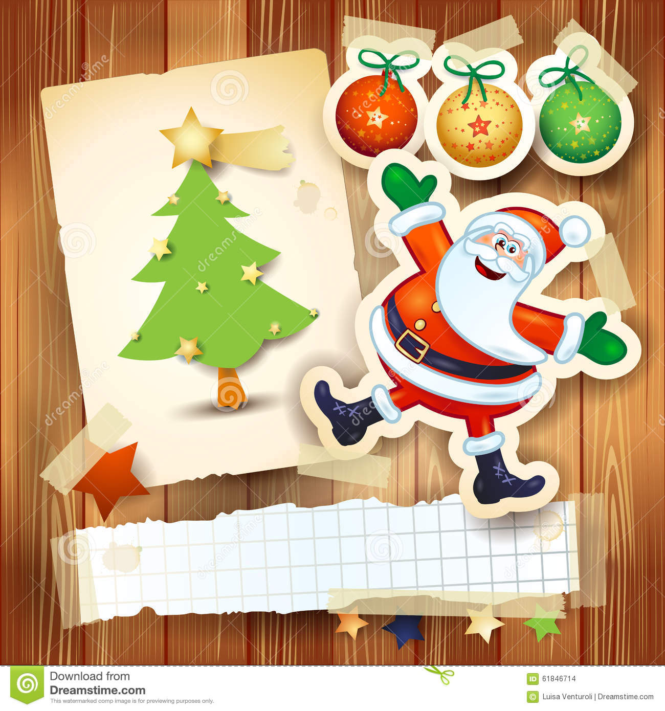 christmas background with postcard and funny santa claus