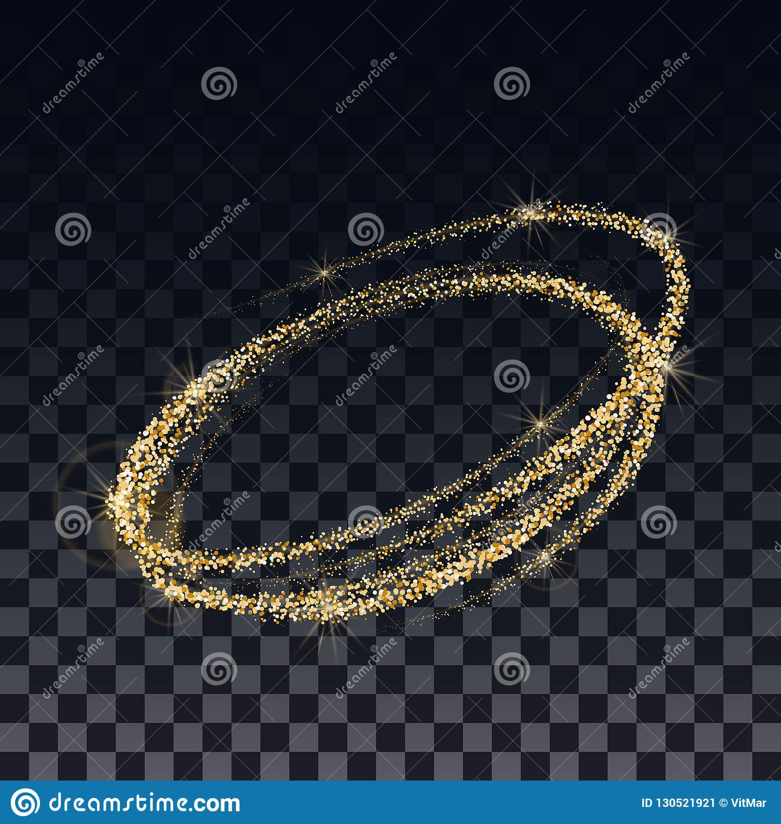 Golden confetti and shimmering particles on a transparent background. The template for the design of the spiral.