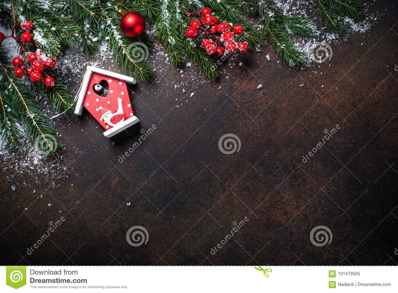christmas background with a red bird house - Red Bird Christmas Tree Decorations