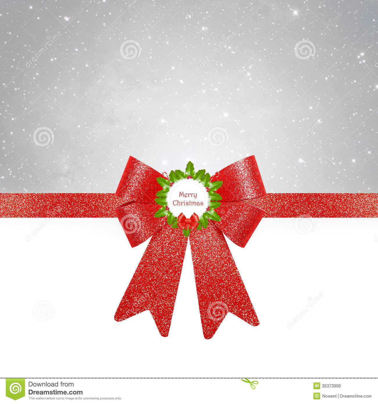 Christmas Background - Red Bow On Silver Background Royalty Free ...