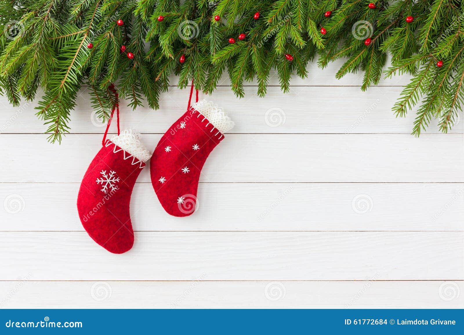 Christmas Background. Red Christmas Socks On White Wooden ... Red Christmas Tree White Background