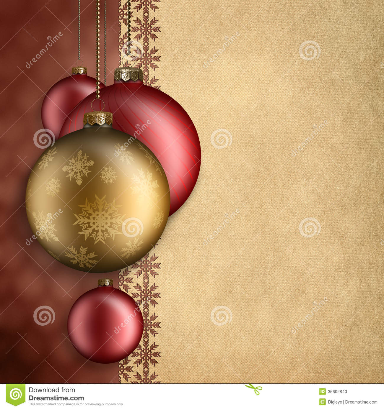 Christmas background - red and gold baubles and blank space for text.