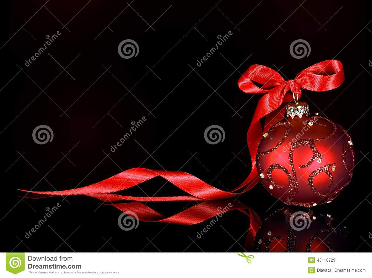 christmas background with red ornament and ribbon on a black background - Black Red Silver Christmas Decorations