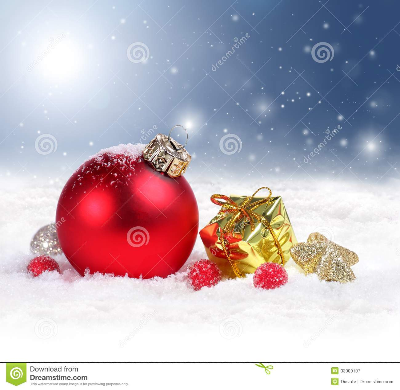 Christmas Background With Red Ornament And Snowflakes Royalty Free ...