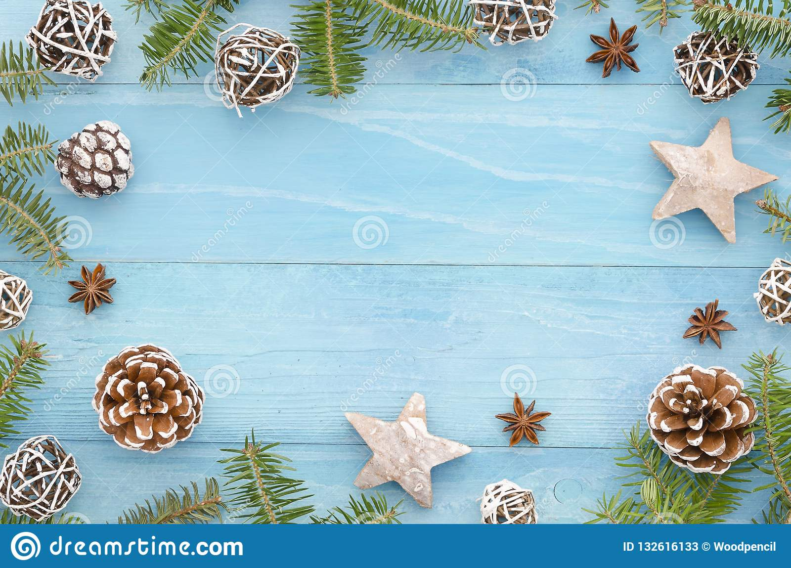 Christmas Background Rustic Blue Wooden Panks With Christmas Tree Anice Star Pine Cones And Fir Tree Winter Holiday Stock Image Image Of Merry Design 132616133