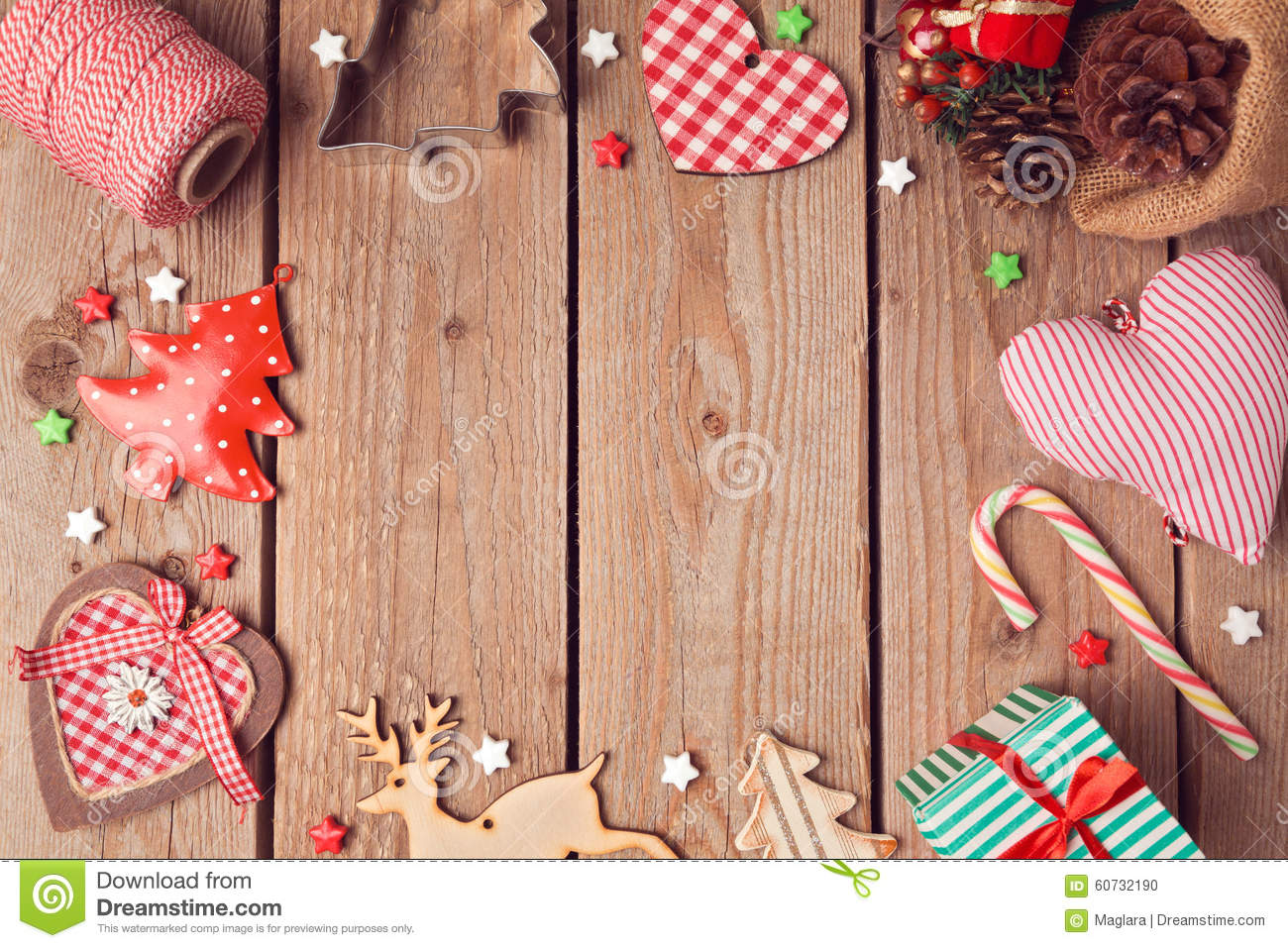 christmas background with rustic christmas decorations on wooden table view from above stock. Black Bedroom Furniture Sets. Home Design Ideas