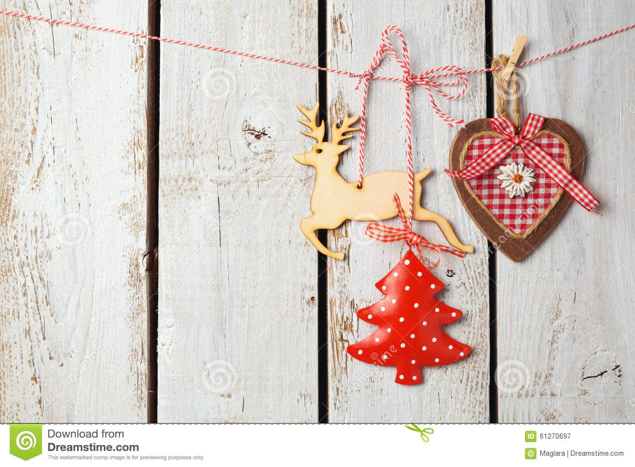 christmas background with rustic decorations over white wooden board royalty free stock photography - Rustic Christmas Decorations