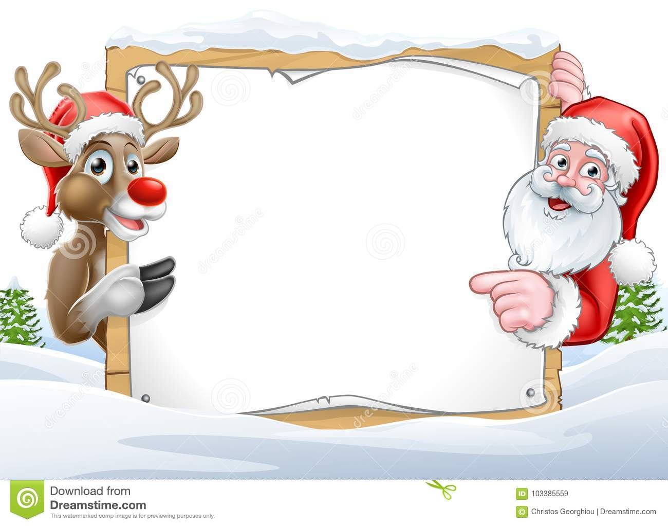 christmas santa and reindeer sign background stock vector