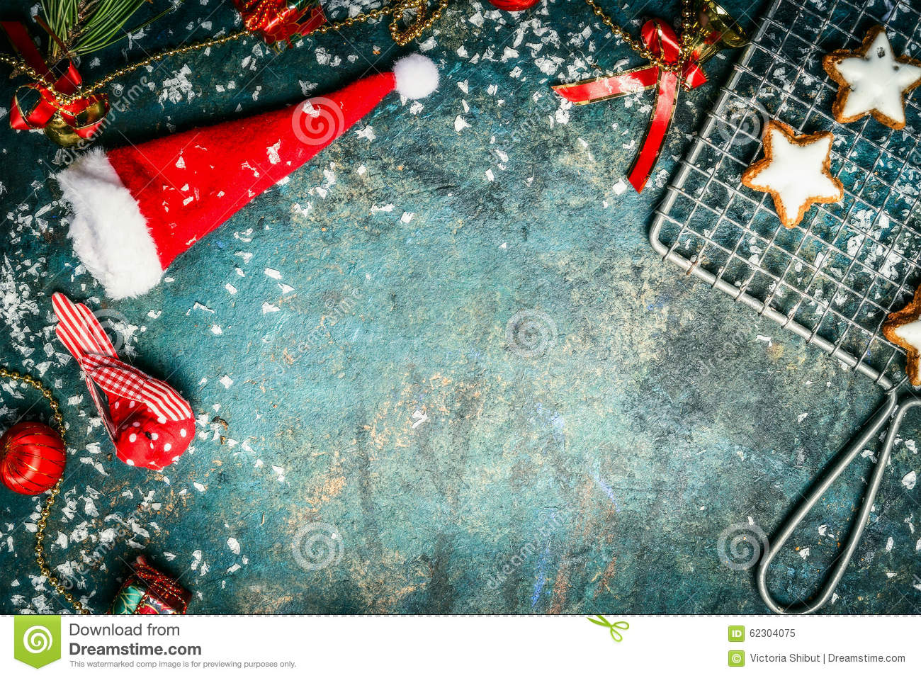 Christmas Background With Santa Hat Snow Red Winter