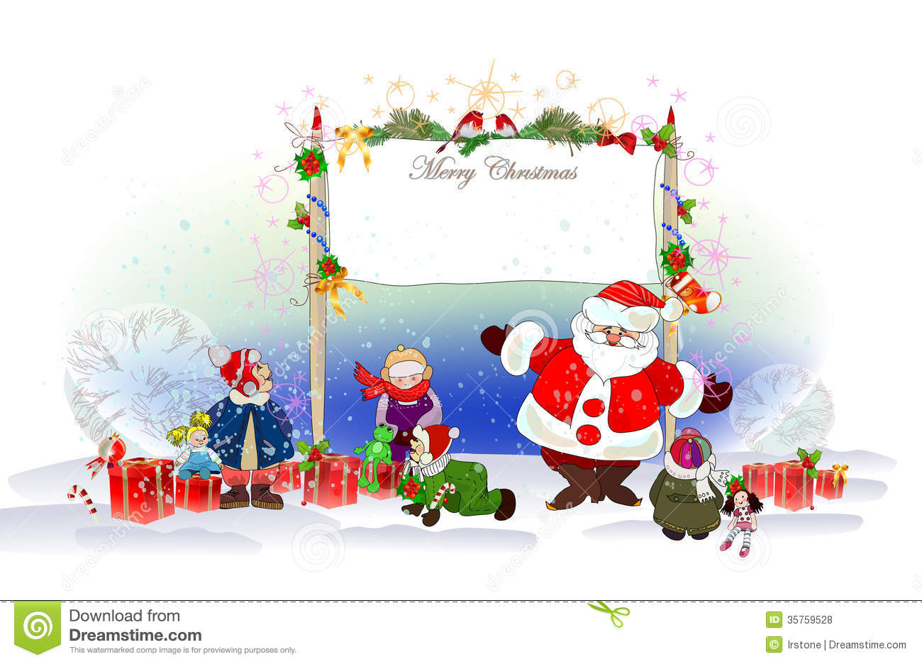 Christmas Background With Santa Stock Vector - Illustration of ...