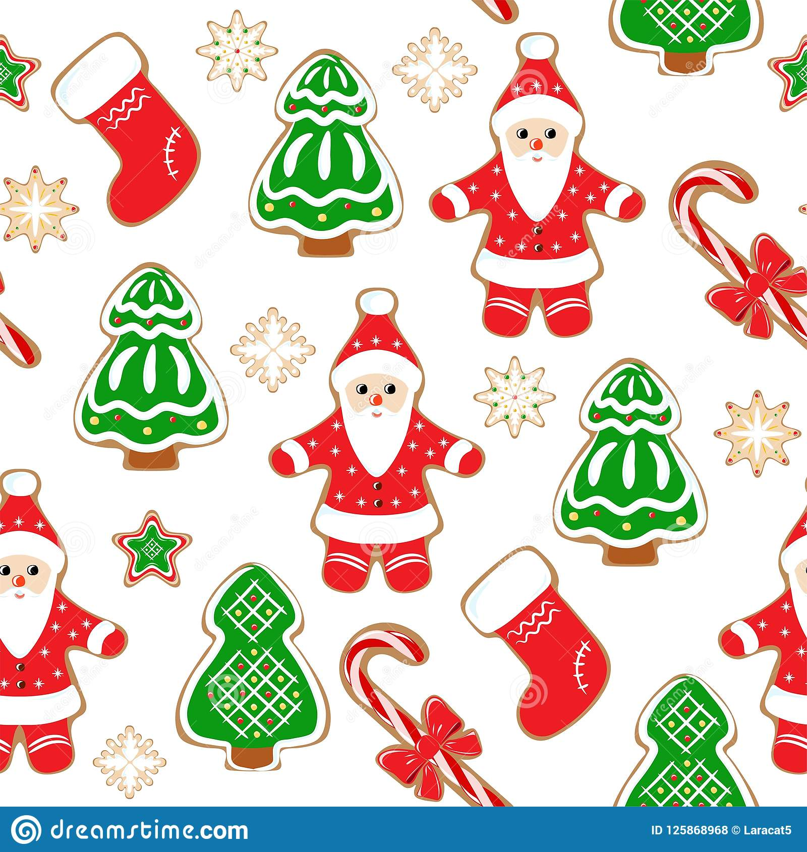 Christmas Background Seamless Pattern With Santa And