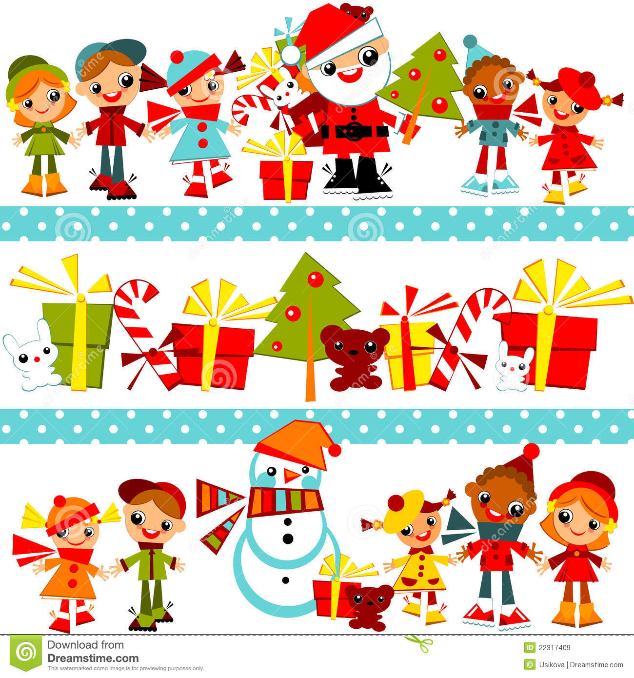 Colorful Christmas Background For Kids.Christmas Background With Set Kids Stock Vector