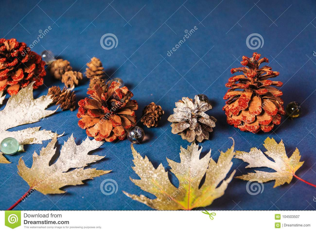 Christmas background shots, leaves on a blue background