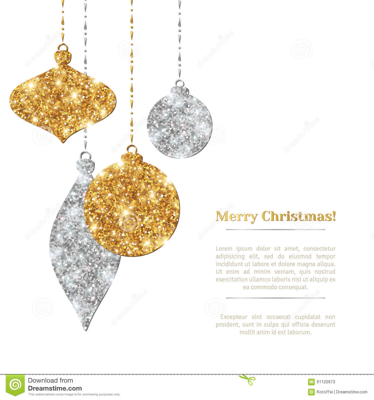 Christmas Invitation Background Gold.Christmas Background With Silver And Gold Hanging Stock