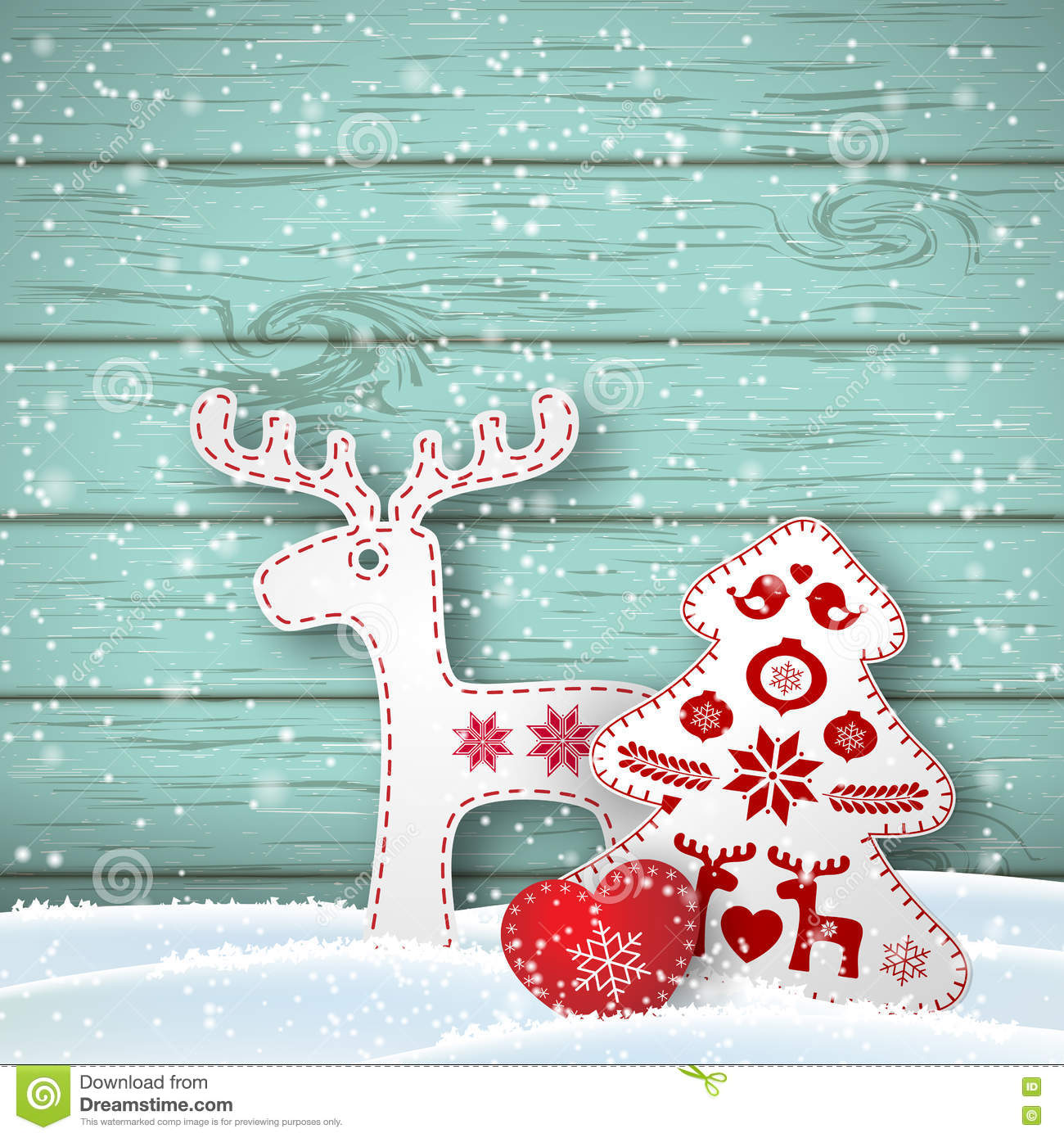 Christmas background, small scandinavian styled decorations in front od blue wooden wall, illustration