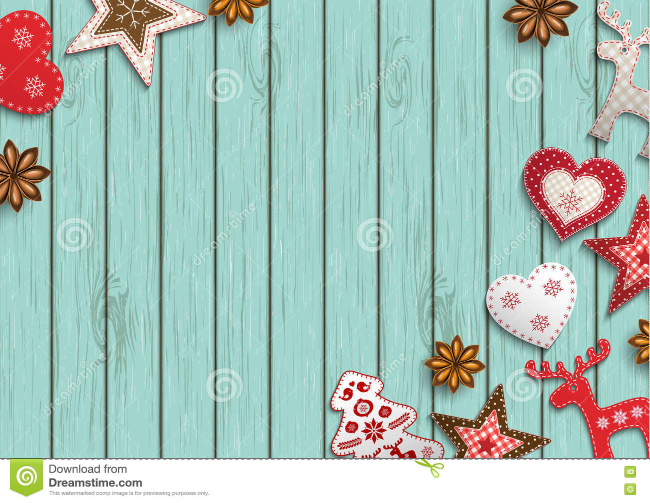 Christmas background, small scandinavian styled decorations lying on blue wooden backdrop, illustration