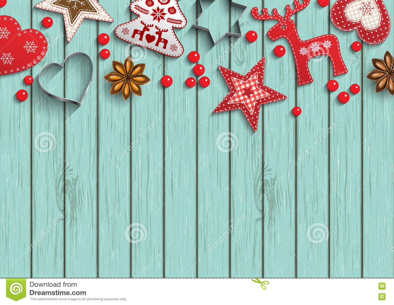 Christmas background, small scandinavian styled decorations lying on polka dot patterned backdrop, illustration