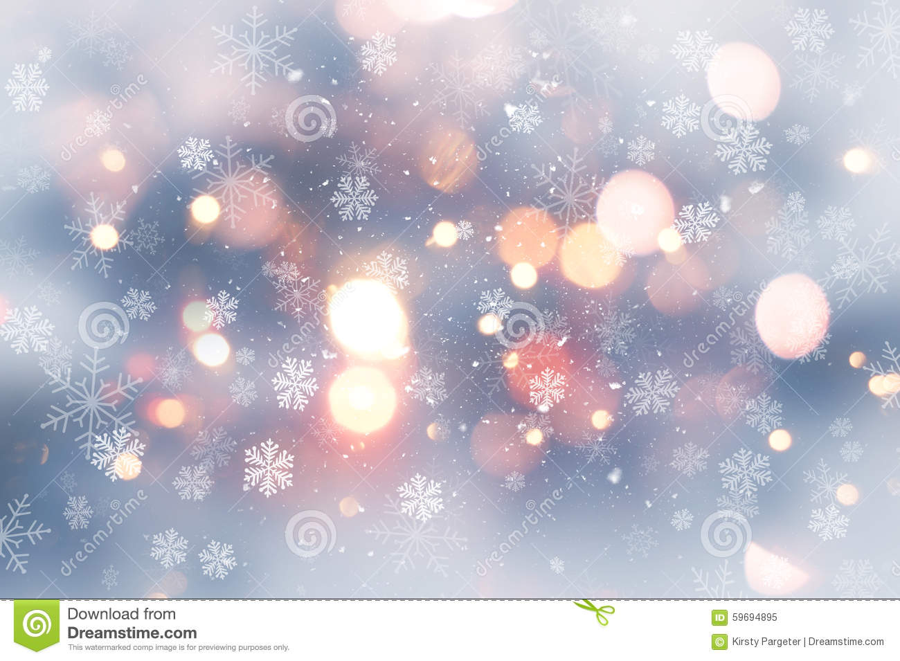 Christmas Background With Snow And Bokeh Lights Stock