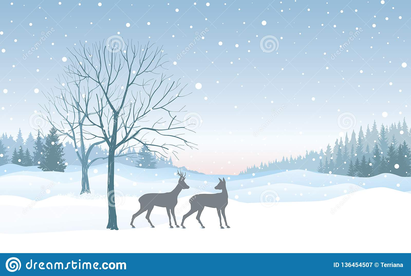 Christmas background. Snow winter landscape skyline with deers. Merry Christmas wallpaper design