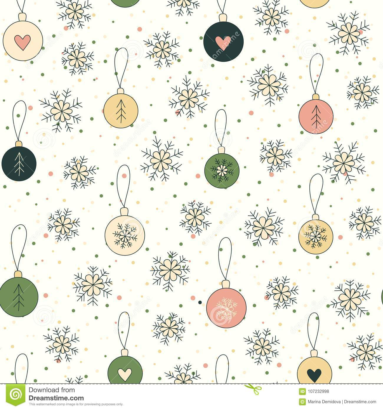 Christmas Backgrounds Cute.Christmas Background With Snowflakes And Balls Stock Vector