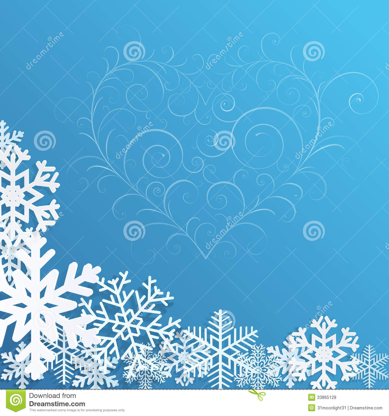 Christmas background with snowflakes and heart royalty