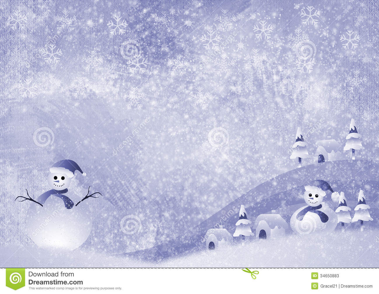 Christmas background with snowman. snowflakes and christmas tree.