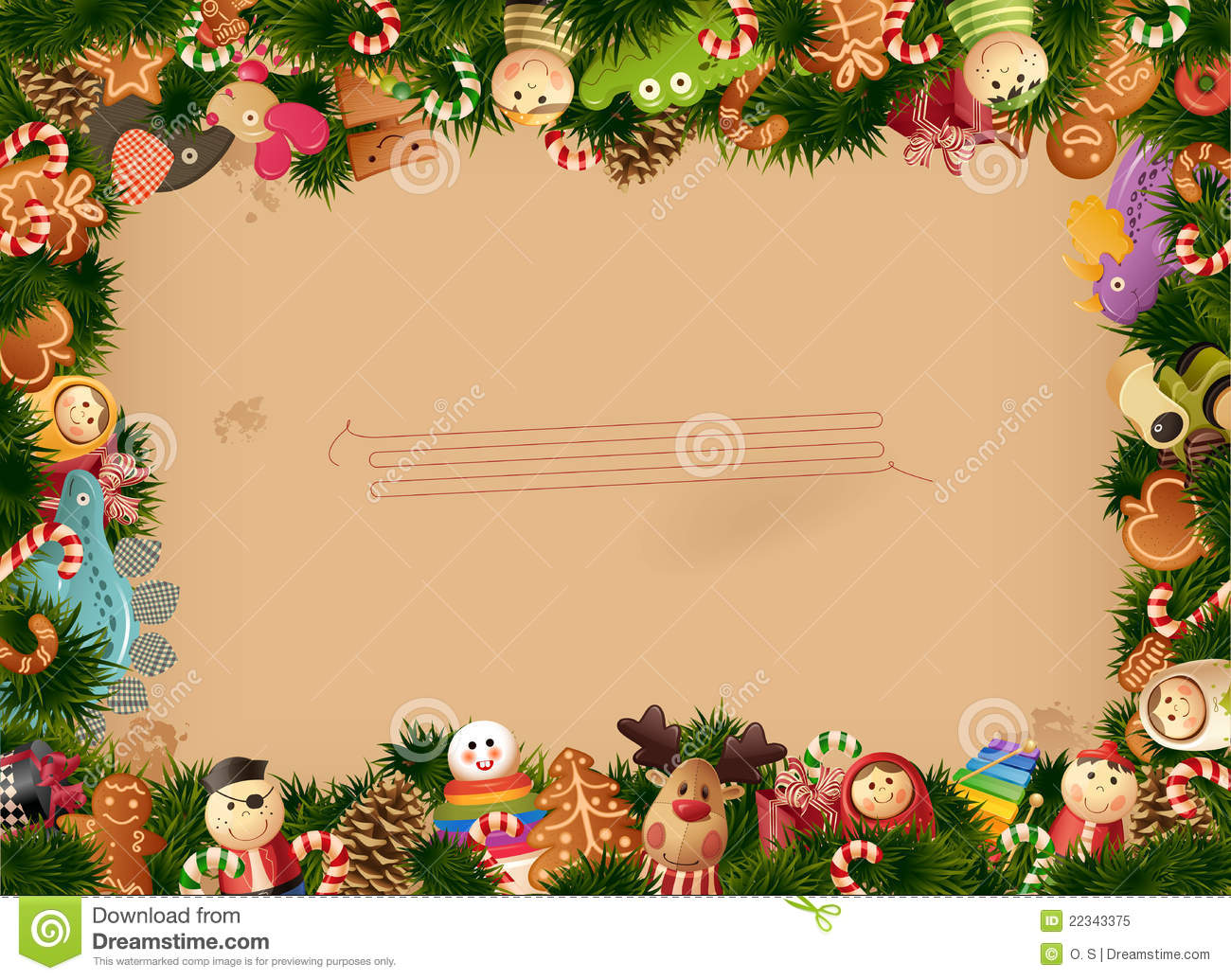 Christmas Background- Toys Frame And Old Paper Royalty Free Stock ...
