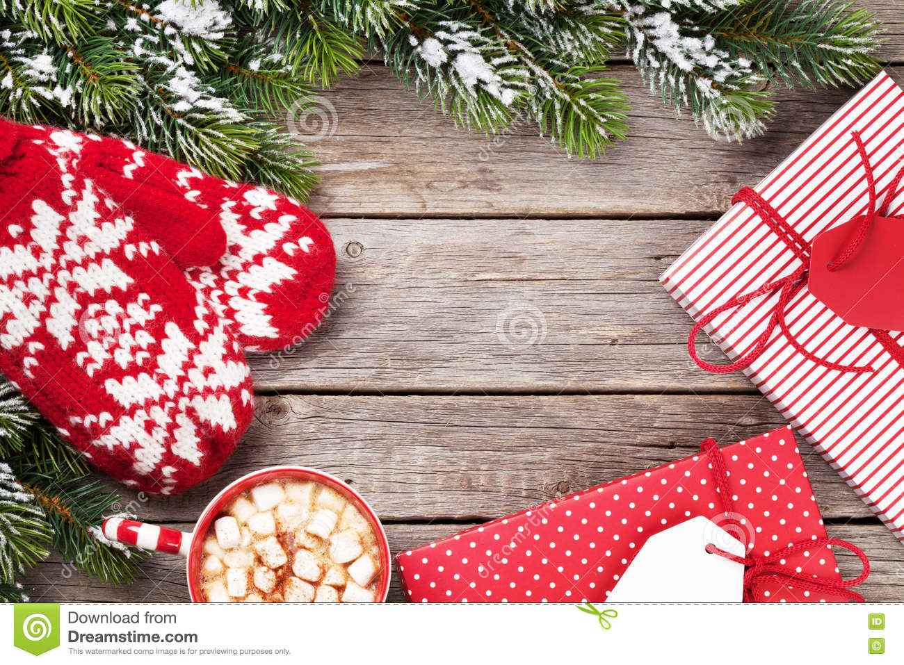 Christmas Background With Tree, Gifts, Hot Chocolate Stock Photo ...