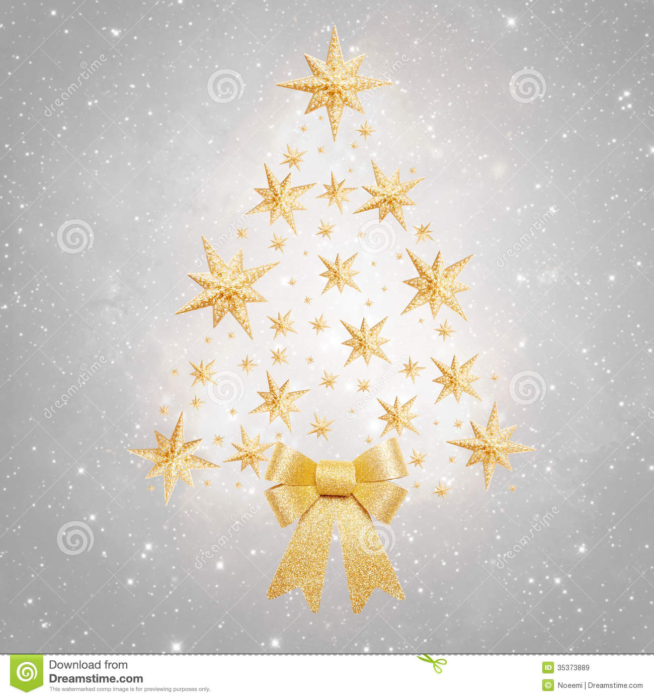 Christmas background - tree made of stars on silver background