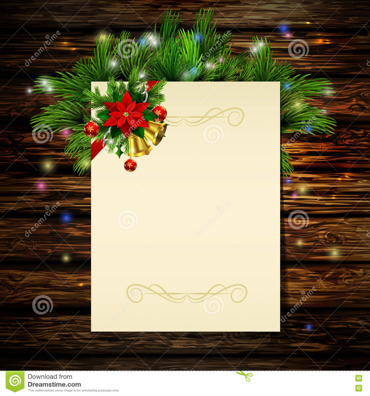 Christmas Background With Tree Stock Vector - Illustration of mail ...