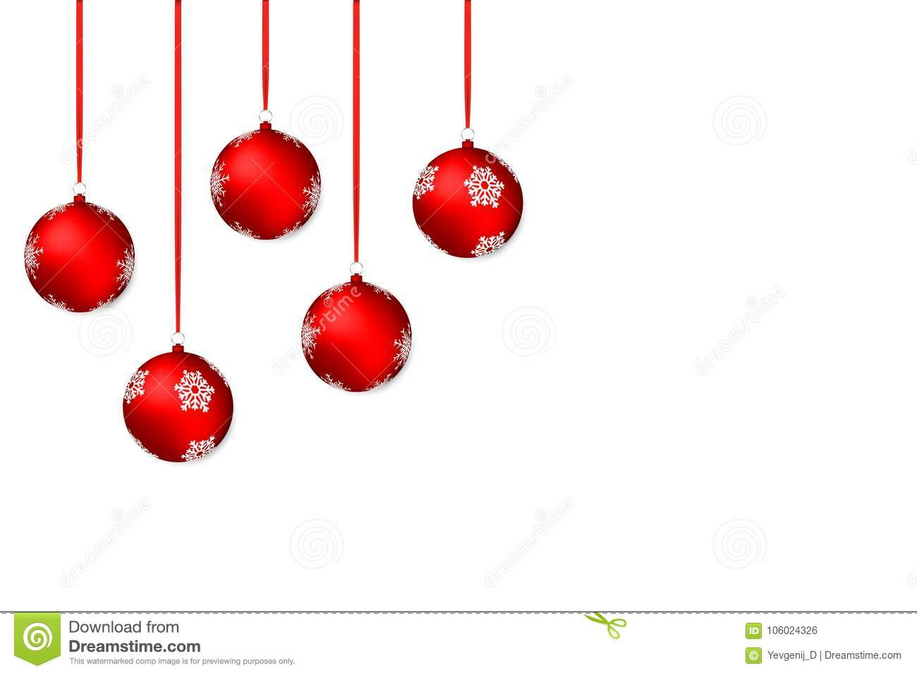 Christmas background. White holiday background with red christmas balls and ribbons