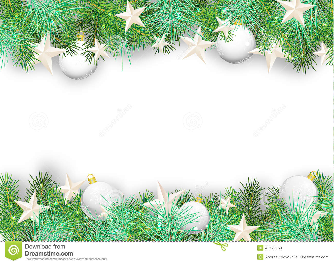 Christmas Background With White Ornaments And Branches ...