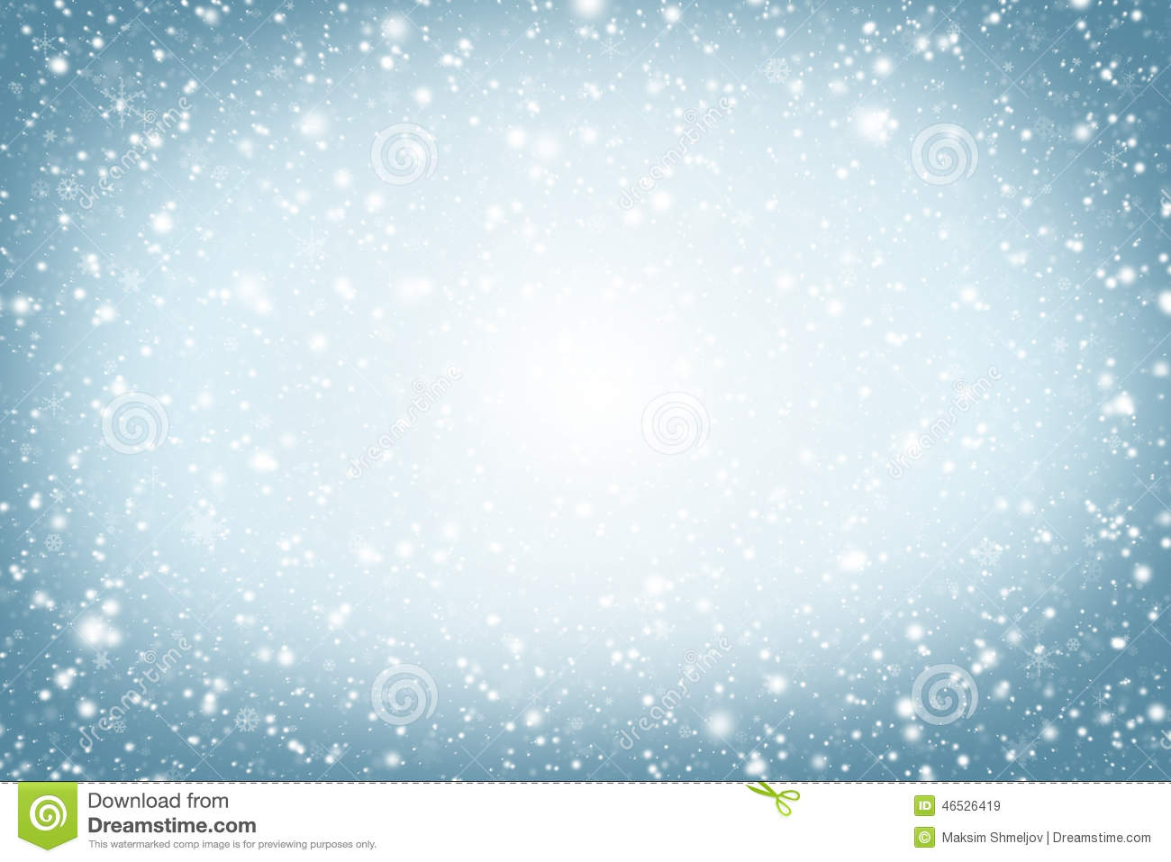 Christmas background. Winter sky, snowflakes and stars