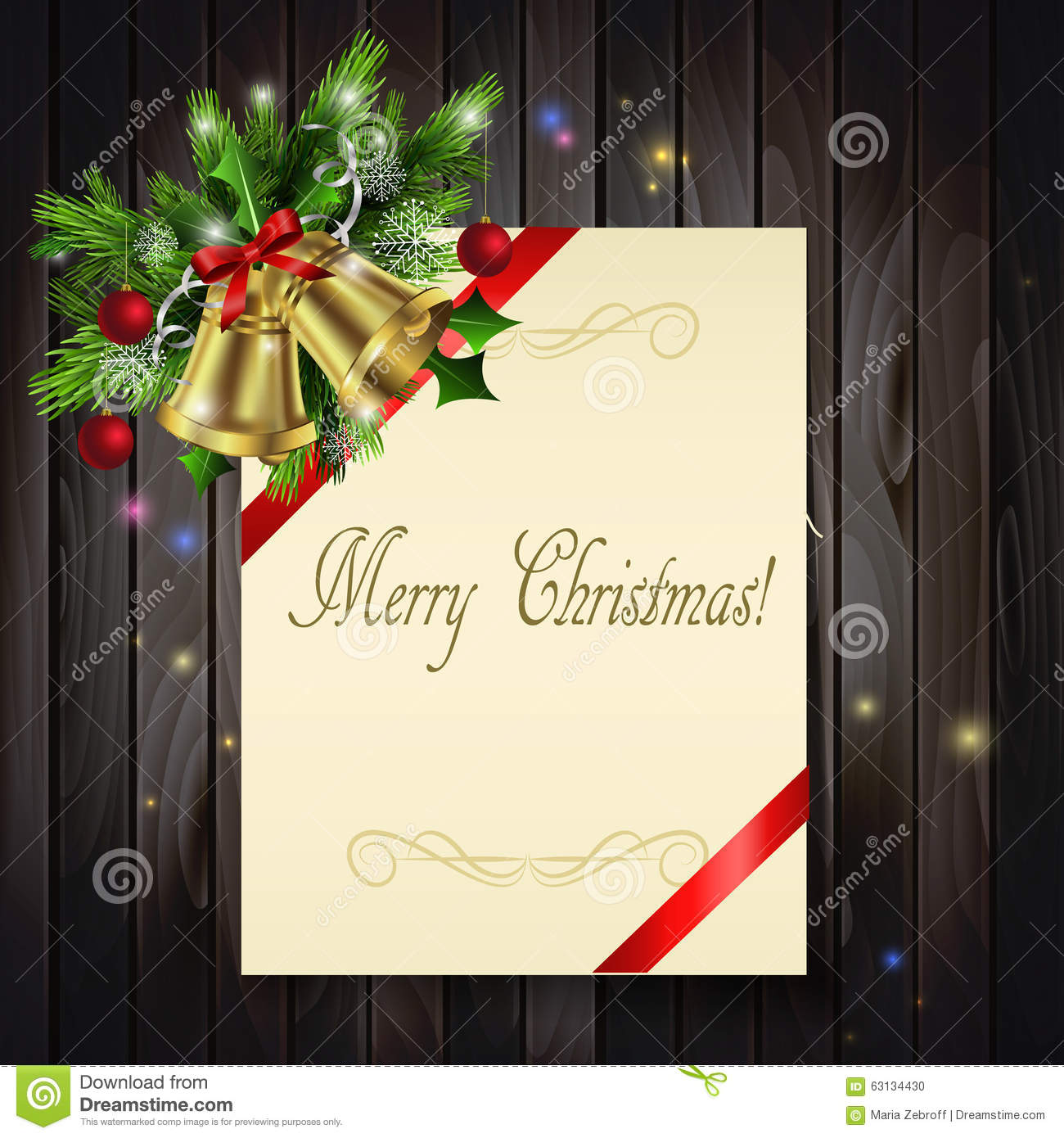 Christmas Background On Wood Stock Vector - Illustration of mail ...
