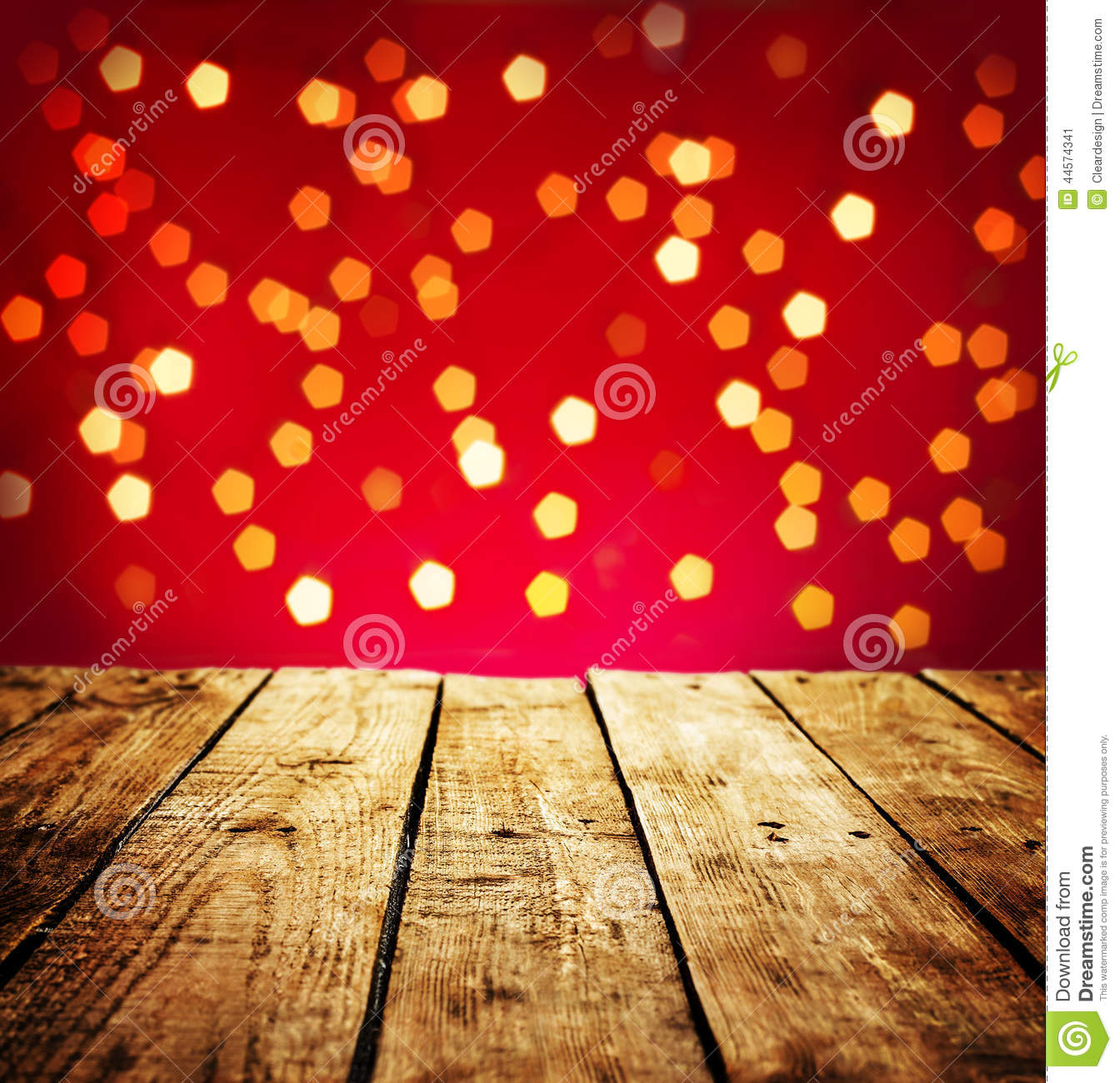 Christmas Background With Wood Table In Perspective Stock Photo ...