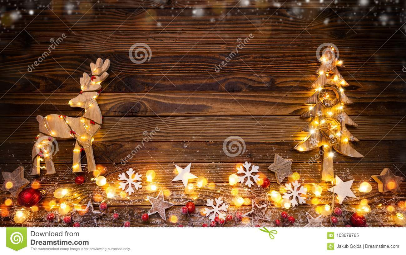 christmas background with wooden decorationsmoose tree and spo