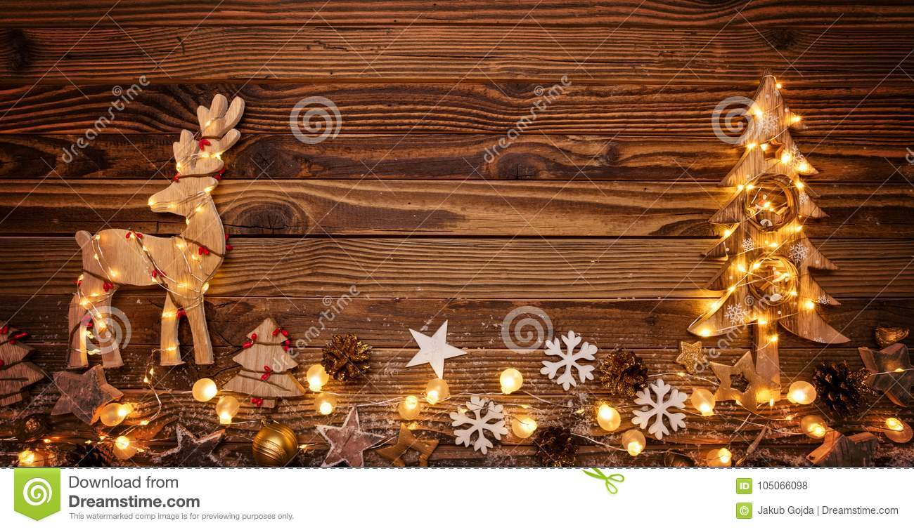 christmas background with wooden decorationsmoose and tree - Christmas Moose Decorations