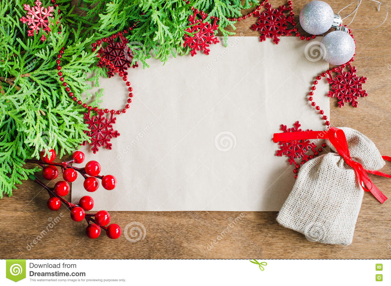 christmas background with xmas decoration blank postcard