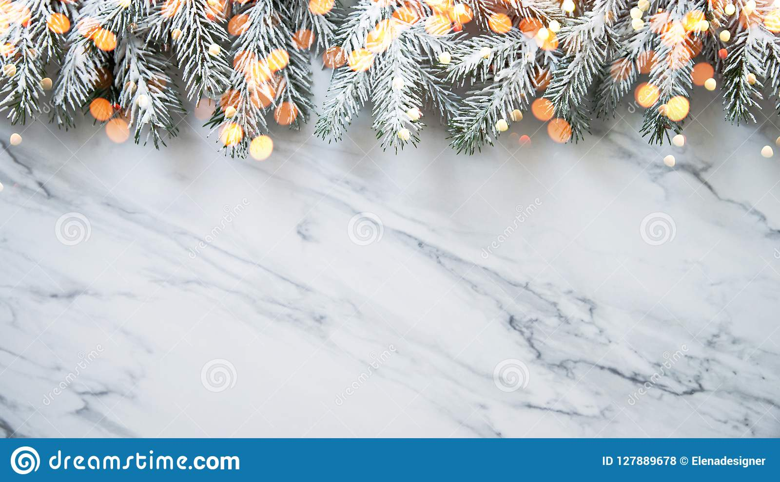 Christmas background with xmas tree on white marble background. Merry christmas greeting card, frame, banner. Winter holiday theme