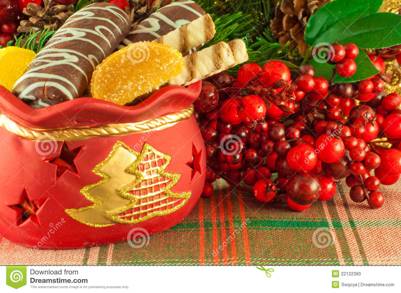 More similar stock images of christmas bag with gifts cookies