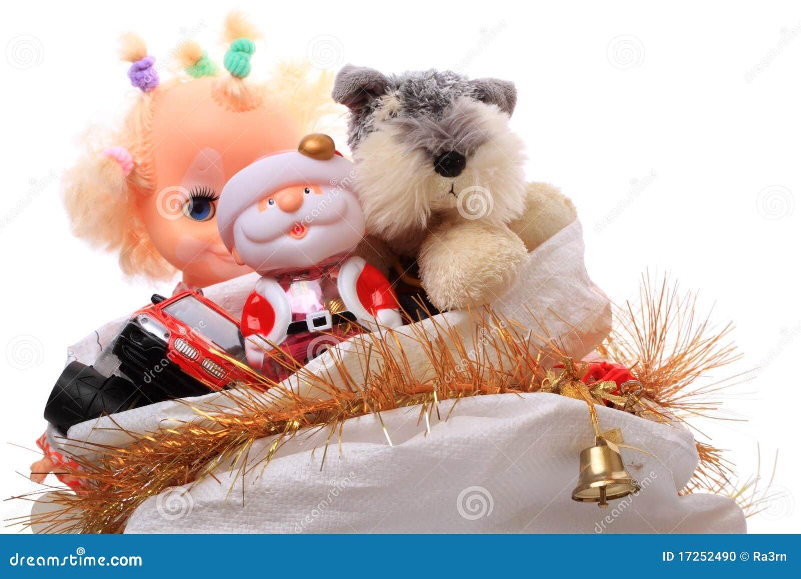 Sack Of Toys For Christmas : Christmas bag with toys stock photo image