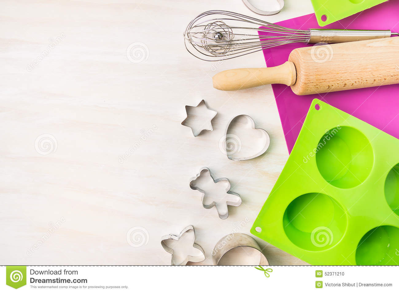 fun cookie bake flyer template stock vector image  christmas bake tools for cookie and cake mould for muffin and cupcake on white wooden background