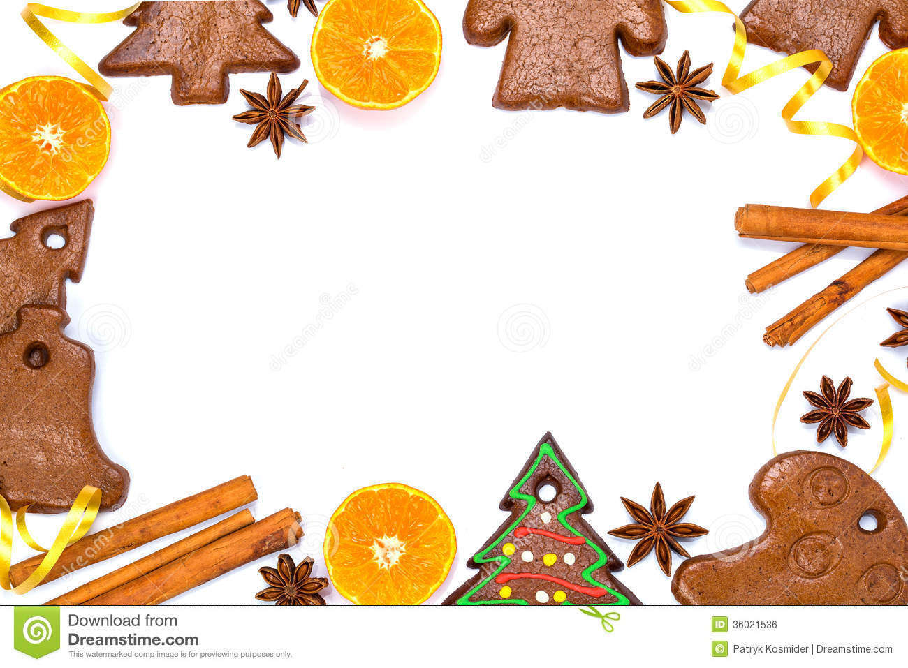 christmas bakery frame with gingerbread royalty free stock