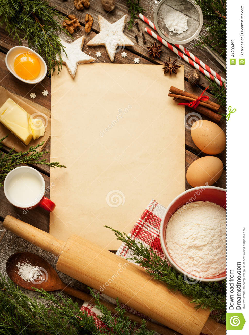 Christmas Baking Cake Background With Dough Ingredients
