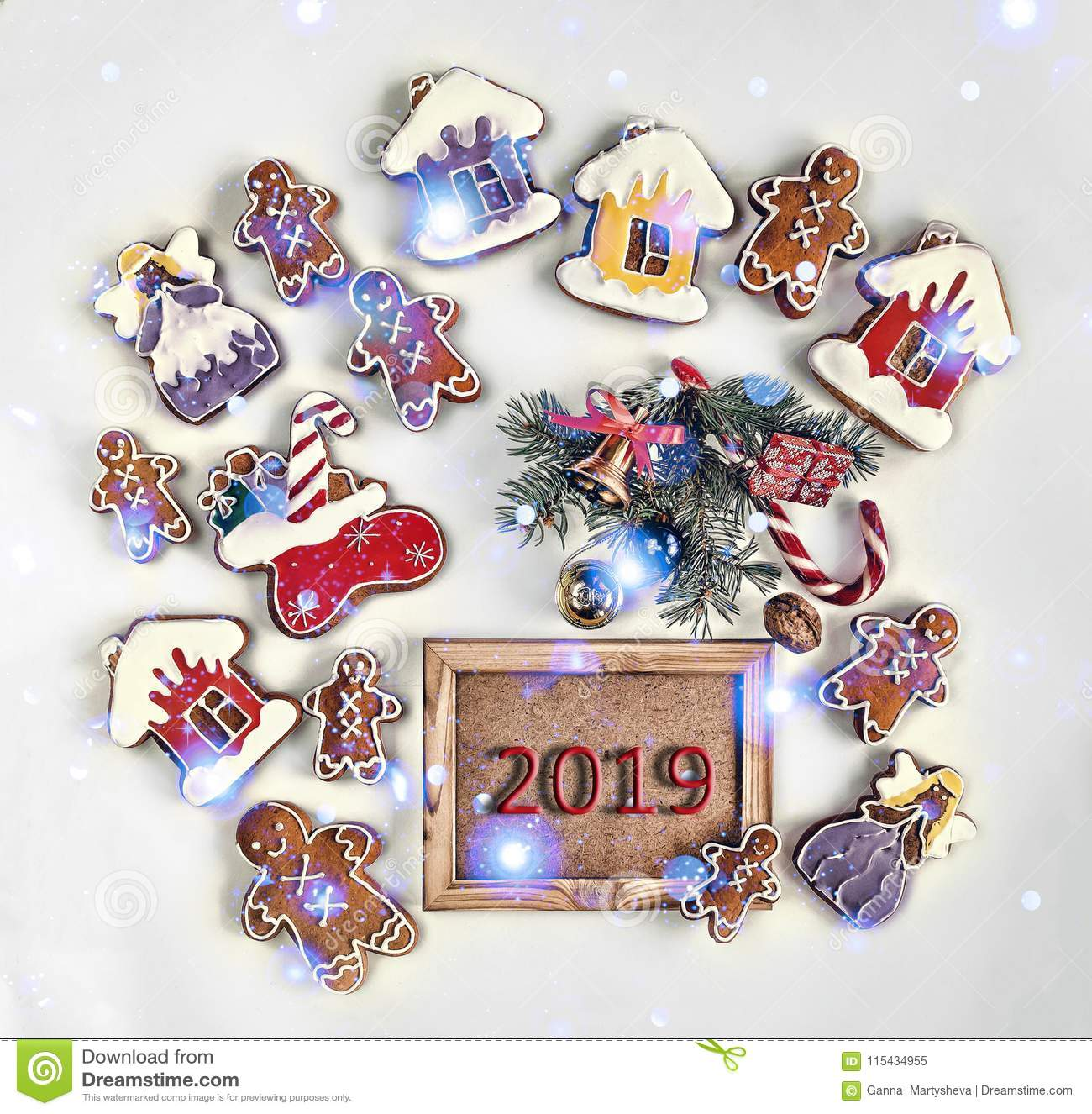 2019 Christmas Cookies 2019, Christmas Baking Food Holiday Cookies Background Xma Stock