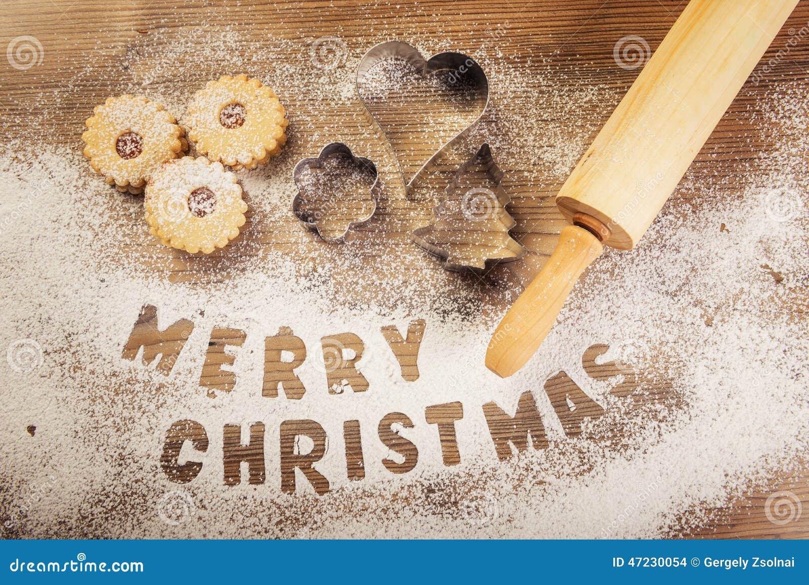 christmas baking merry christmas subtitle stock photo