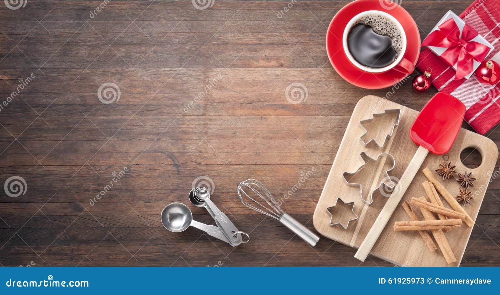 christmas baking wood background stock photo